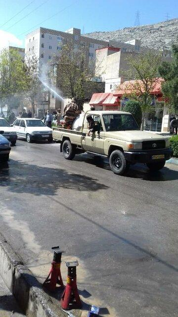 ضدعفونی مناطق شهرستان خرم آباد توسط لشگر 84 خرم آباد