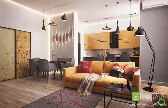 رنگ زرد در دکوراسیون داخلی منزل با چیدمانی مدرن و هوشمندانه